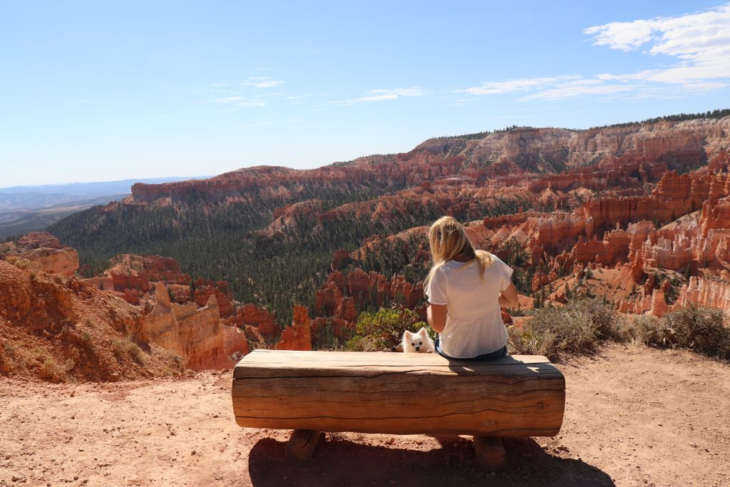 sitting on a bench at Bryce Canyon
